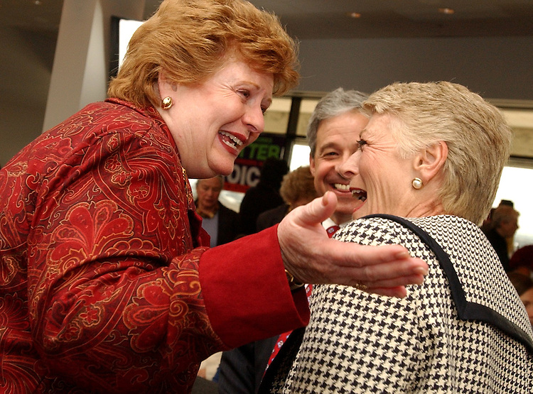 Sen. Debbie Stabenow, D-Mich., left, greets former Rep. Geraldine Ferraro before a memorial service honoring Millie Jeffrey, who died in March at the age of 93.   Millie spent a lifetime working on labor, civil rights, education, health care and in 2000 was awarded the Medal of Freedom by President Clinton, the highest civilian award bestowed by the United States government.