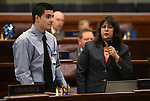 Nevada Assemblywoman Irene Bustamante Adams, D-Las Veags, introduces guest Rafael Garcia on the Assembly floor at the Legislative Building in Carson City, Nev., on Tuesday, Feb. 26, 2013..Photo by Cathleen Allison