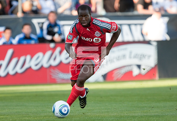 Nana Attakora dribbles the ball. Toronto FC defeated the San Jose Earthquakes 3-1 at Buck Shaw Stadium in Santa Clara, California on May 29th, 2010.