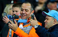 Manchester City fans take photos of the players as they take the field<br /> <br /> Photographer Alex Dodd/CameraSport<br /> <br /> UEFA Champions League Group F - Manchester City v Shakhtar Donetsk - Wednesday 7th November 2018 - City of Manchester Stadium - Manchester<br />  <br /> World Copyright &copy; 2018 CameraSport. All rights reserved. 43 Linden Ave. Countesthorpe. Leicester. England. LE8 5PG - Tel: +44 (0) 116 277 4147 - admin@camerasport.com - www.camerasport.com