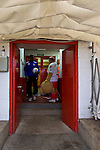 Stevenage 0 Leyton Orient 1, 17/08/2013. Broadhall Way, League One. Leyton Orient arrived in Stevenage with the swagger of a club that had started the season well, while Stevenage searched for their first point. The Stevenage mascot cools down in the tunnel area. Photo by Simon Gill