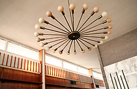 A lighting fixture designed spefically for the Murchison home hangs above the dining room table.  The home, designed by pioneering modernist, Walter Gropius, is located in Provincetown, MA, and is soon to be on the market for the first time since it was built in the 1950s.  10/29/07 Julia Cumes
