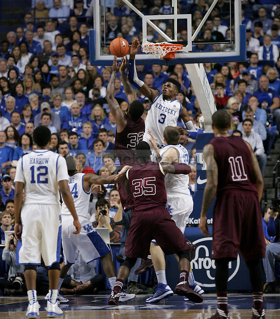 Freshman forward Nerlens Noel blocks a shot during the second half of the Men's Basketball game vs. Texas A&M at the Rupp Arena in Lexington, Ky., on Saturday, January 12, 2013..