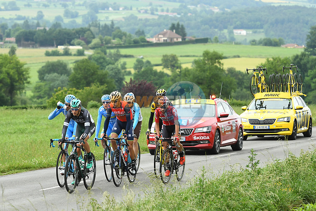 The breakaway group Silvio Herklotz (GER) Bora-Hansgrohe, Angel Madrazo and Delio Fernandez Cruz (ESP) Delko Marseille Provence KTM, Antonio Nibali (ITA) Bahrain-Merida, Axel Domont (FRA) AG2R, Romain Sicard (FRA) Direct Energie and Thomas De Gendt (BEL) Lotto-Soudal, during Stage 1 of the Criterium du Dauphine 2017, running 170.5km from Saint Etienne to Saint Etienne, France. 4th June 2017. <br /> Picture: ASO/A.Broadway   Cyclefile<br /> <br /> <br /> All photos usage must carry mandatory copyright credit (&copy; Cyclefile   ASO/A.Broadway)