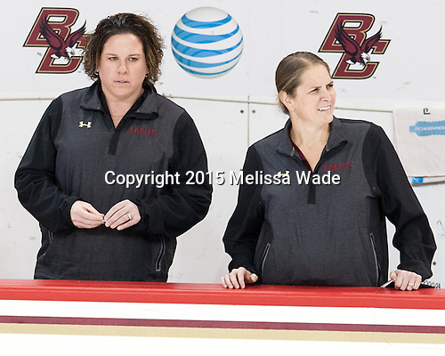 Courtney Kennedy (BC - Associate Head Coach), Katie Crowley (BC - Head Coach) - The Boston College Eagles defeated the visiting UConn Huskies 4-0 on Friday, October 30, 2015, at Kelley Rink in Conte Forum in Chestnut Hill, Massachusetts.