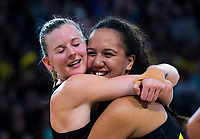 Katrina Grant and Aliyah Dunn celebrate winning the 2019 ANZ Premiership netball final match between the Central Pulse and Northern Stars at Te Rauparaha Arena in Wellington, New Zealand on Monday, 3 June 2019. Photo: Dave Lintott / lintottphoto.co.nz