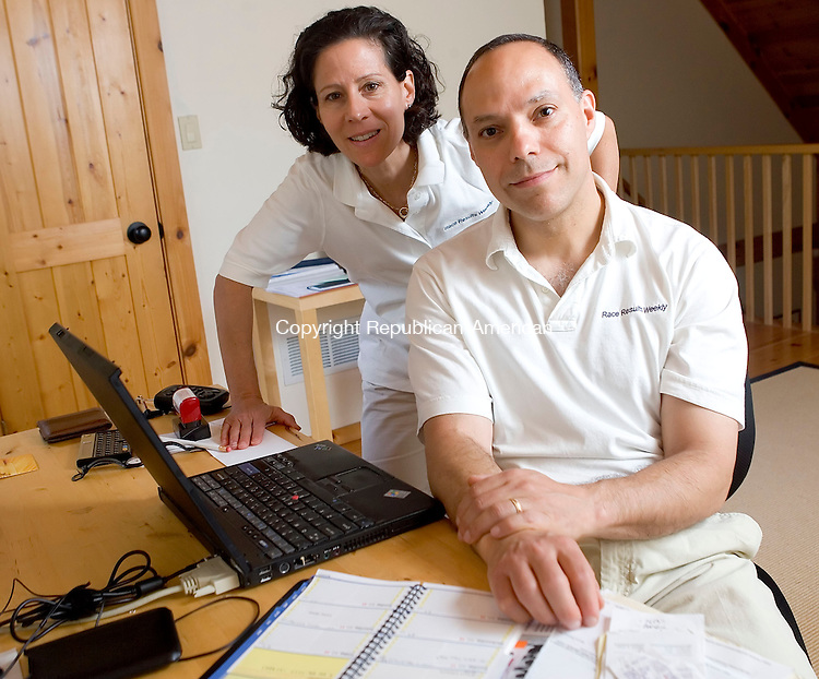 WARREN, CT- 15 JUNE 2008- 061508JT02-<br /> David and Jane Monti of Warren, owners of Race Results Weekly, are headed to the Olympic Games in Beijing this summer to advise NBC Sports on information about track and field athletes. <br /> Josalee Thrift / Republican-American