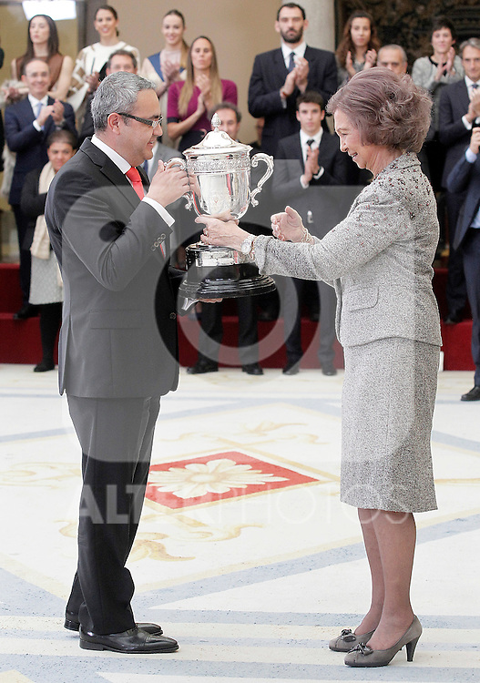 Queen Sofia of Spain delivers to Jorge Garduno, General Manager of Coca-Cola Spain, the Queen Sofia Award to the person or entity that more has been highlighted during the year by a particularly significant gesture of nobility or fair play in sports, or has provided a special contribution to the eradication of violence in sport, to Coca-Cola Blanca Cup card. November 17, 2015. (ALTERPHOTOS/Acero)