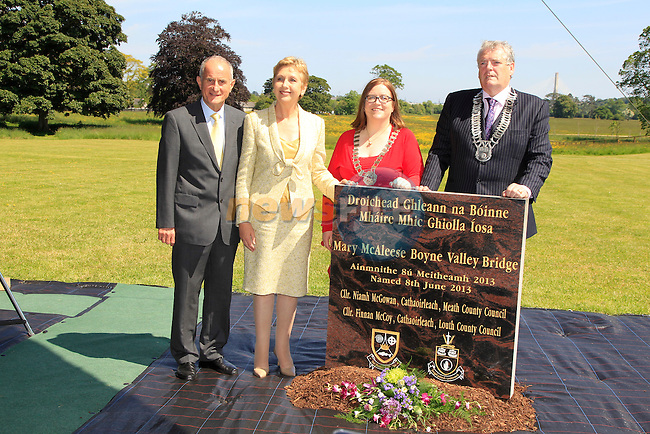 Dr. Martin McAleese, Mary McAleese with Meath and Louth CO Co Chairpersons<br /> at the renaming of the Mary McAleese Boyne Valley bridge at Oldbridge house<br /> Picture:  Fran Caffrey / www.newsfile.ie