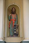 Religious statue of saint inside historic Nykirken church, city of Bergen, Norway