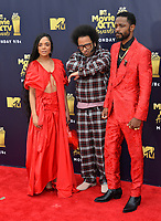 Tessa Thompson, Boots Riley &amp; Lakeith Stanfield  at the 2018 MTV Movie &amp; TV Awards at the Barker Hanger, Santa Monica, USA 16 June 2018<br /> Picture: Paul Smith/Featureflash/SilverHub 0208 004 5359 sales@silverhubmedia.com