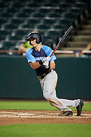 Trenton Thunder left fielder Zack Zehner (63) follows through on a swing during the second game of a doubleheader against the Bowie Baysox on June 13, 2018 at Prince George's Stadium in Bowie, Maryland.  Bowie defeated Trenton 10-1.  (Mike Janes/Four Seam Images)