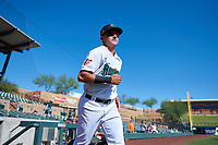 Surprise Saguaros Rylan Bannon (1), of the Baltimore Orioles organization, jogs onto the field during player introductions before the Arizona Fall League Championship Game against the Salt River Rafters on October 26, 2019 at Salt River Fields at Talking Stick in Scottsdale, Arizona. The Rafters defeated the Saguaros 5-1. (Zachary Lucy/Four Seam Images)