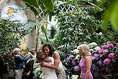 First Lady Michelle Obama and Dr. Jill Biden greet guests prior to a luncheon with Senate spouses at the United Stats Botanic Garden in Washington, D.C., May 23, 2012. .Mandatory Credit: Sonya N. Hebert - White House via CNP