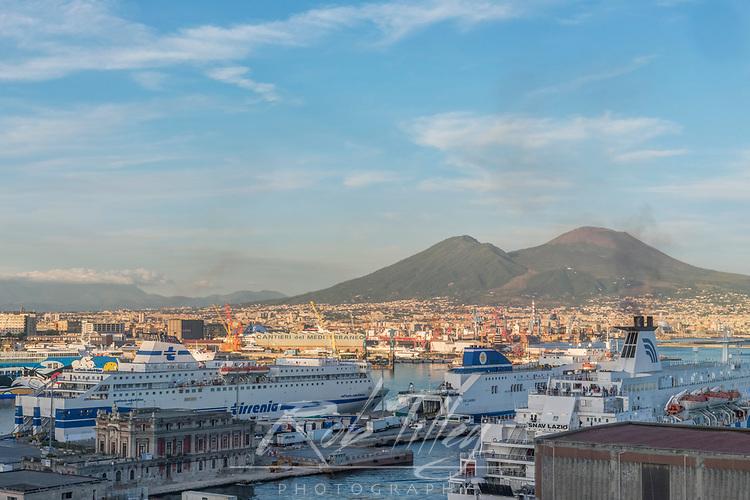 Europe, Italy, Naples, Naples Port & Mt. Vesuvias