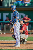 Marco Hernandez (13) of the Ogden Raptors at bat against the Idaho Falls Chukars at Lindquist Field on August 9, 2019 in Ogden, Utah. The Raptors defeated the Chukars 8-3. (Stephen Smith/Four Seam Images)