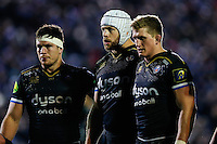 Francois Louw, Dave Attwood and Stuart Hooper of Bath Rugby look to pack down for a scrum. European Rugby Champions Cup match, between Bath Rugby and Leinster Rugby on November 21, 2015 at the Recreation Ground in Bath, England. Photo by: Rogan Thomson / JMP for Onside Images