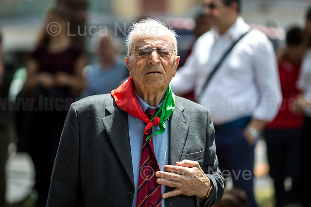 """Rome, 04/06/2018. On 4 June 1944 the American forces took possession of Rome, that Day will be remembered as the """"Liberazione di Roma"""". Today, to mark the 74th Anniversary of that day, Rome celebrates one of his most popular areas and """"Quartiere simbolo della Resistenza"""" (District symbol of the Resistance), Centocelle (Municipio V - https://bit.ly/2esBcBX), confering the State Gold Medal (for Civil Merit) for its Antifascist Resistance."""