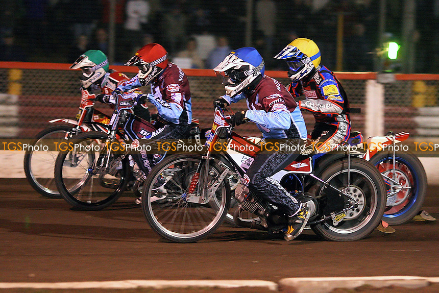 Heat 4: Kauko Nieminen (red), Phil Morris (blue), Niels Kristian Iversen (green) and Rene Bach (yellow) - Lakeside Hammers vs Peterborough Panthers - Sky Sports Elite League Speedway at Arena Essex Raceway, Thurrock - 03/04/09 - MANDATORY CREDIT: Gavin Ellis/TGSPHOTO - Self billing applies where appropriate - 0845 094 6026 - contact@tgsphoto.co.uk - NO UNPAID USE.