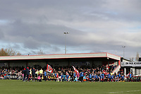 The teams take to the field during Arsenal Women vs Bristol City Women, Barclays FA Women's Super League Football at Meadow Park on 1st December 2019