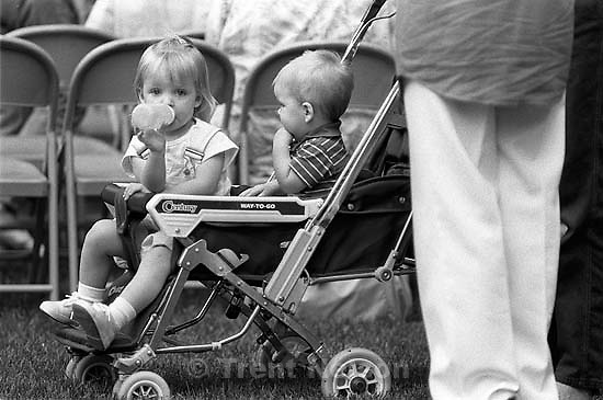 Kids in stroller at 34th annual Salmon Supper at Memorial Park.<br />