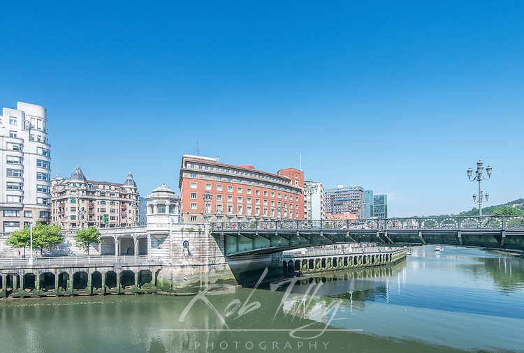 Spain, Bilbao, Nervion River & Downtown