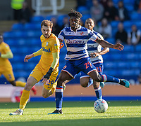 Reading's Pele (right) under pressure from Preston North End's Tom Barkhuizen (left) <br /> <br /> Photographer David Horton/CameraSport<br /> <br /> The EFL Sky Bet Championship - Reading v Preston North End - Saturday 19th October 2019 - Madejski Stadium - Reading<br /> <br /> World Copyright © 2019 CameraSport. All rights reserved. 43 Linden Ave. Countesthorpe. Leicester. England. LE8 5PG - Tel: +44 (0) 116 277 4147 - admin@camerasport.com - www.camerasport.com