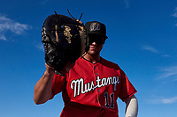 Billings Mustangs first baseman Leonardo Seminati (11) slaps the camera with his glove before a Pioneer League game against the Grand Junction Rockies at Dehler Park on August 15, 2019 in Billings, Montana. Billings defeated Grand Junction 11-2. (Zachary Lucy/Four Seam Images)