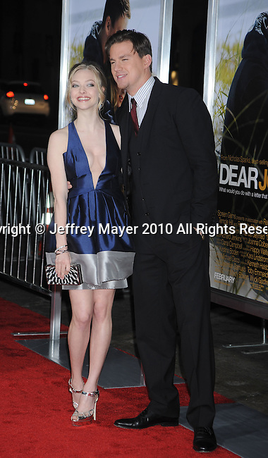"HOLLYWOOD, CA. - February 01: Amanda Seyfried and Channing Tatum arrive at the ""Dear John"" World Premiere held at Grauman's Chinese Theatre on February 1, 2010 in Hollywood, California."