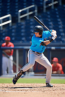 Miami Marlins JJ Bleday (21) at bat during an Instructional League game against the Washington Nationals on September 26, 2019 at FITTEAM Ballpark of The Palm Beaches in Palm Beach, Florida.  (Mike Janes/Four Seam Images)
