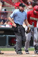 Home plate umpire Joseph Born during a game between the Erie SeaWolves and Harrisburg Senators at Jerry Uht Park on August 7, 2011 in Erie, Pennsylvania.  Harrisburg defeated Erie 6-1.  (Mike Janes/Four Seam Images)