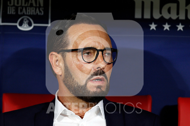 Getafe CF's coach Jose Bordalas during La Liga match. Aug 18, 2019. (ALTERPHOTOS/Manu R.B.)Getafe CF's coach Jose Bordalas  during the Spanish La Liga match between Atletico de Madrid and Getafe CF at Wanda Metropolitano Stadium in Madrid, Spain