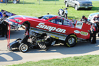 May 18, 2012; Topeka, KS, USA: NHRA funny car driver Cruz Pedregon during qualifying for the Summer Nationals at Heartland Park Topeka. Mandatory Credit: Mark J. Rebilas-