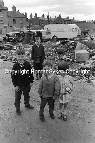Gypsy inner city camp site Balsall Heath Birmingham UK 1967. The houses are on Emily Street.