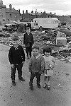 Gypsy inner city camp site Balsall Heath Birmingham UK 1968. The houses are on Emily Street.