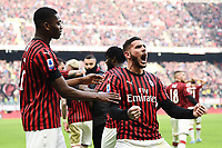 Theo Hernandez of AC Milan celebrates with team mates after scoring the goal of 2-1 <br /> Milano 19/01/2020 Stadio Giuseppe Meazza <br /> Football Serie A 2019/2020 <br /> AC Milan - Udinese Calcio <br /> Photo Image Sport / Insidefoto