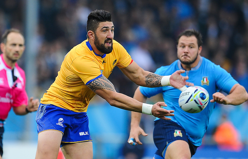 Romania's Florin Vlaicu in action during todays match<br /> <br /> Photographer Craig Thomas/CameraSport<br /> <br /> Rugby Union - 2015 Rugby World Cup Pool D - Italy v Romania - Sunday 11th October 2015 - Sandy Park, Exeter <br /> <br /> &copy; CameraSport - 43 Linden Ave. Countesthorpe. Leicester. England. LE8 5PG - Tel: +44 (0) 116 277 4147 - admin@camerasport.com - www.camerasport.com