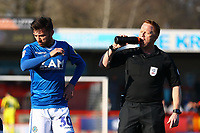 Reece Cole of Macclesfield Town and Referee Alan Young during Crawley Town vs Macclesfield Town, Sky Bet EFL League 2 Football at Broadfield Stadium on 23rd February 2019