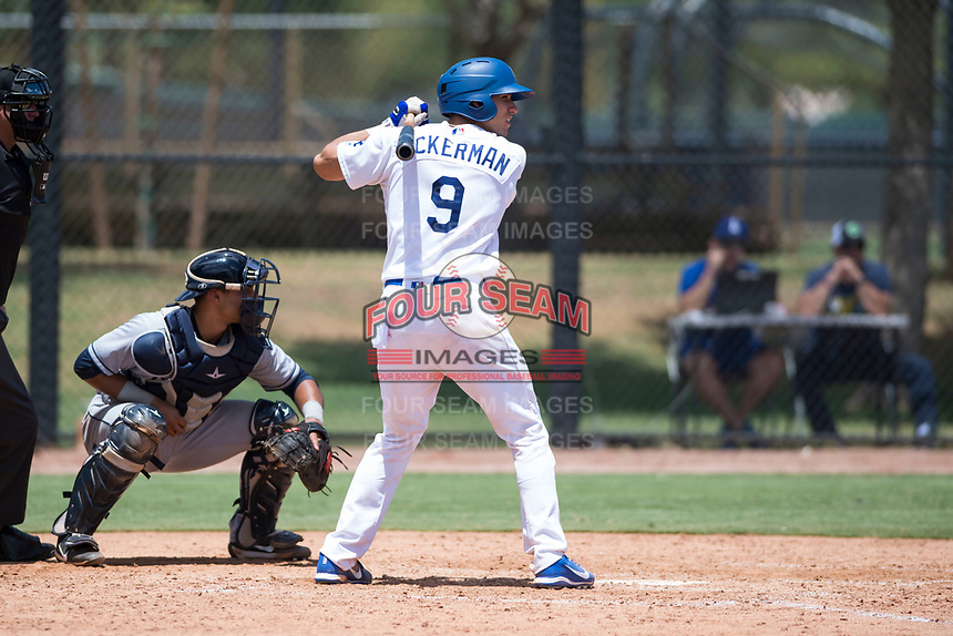 AZL Dodgers catcher Aaron Ackerman (9) at bat in front of catcher Luis Roman (4) during an Arizona League game against the AZL Padres 2 at Camelback Ranch on July 4, 2018 in Glendale, Arizona. The AZL Dodgers defeated the AZL Padres 2 9-8. (Zachary Lucy/Four Seam Images)