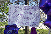RIP banner from Dallas Texas fans with messages of grief remembering Prince. Paisley Park Studios Chanhassen Minnesota MN USA