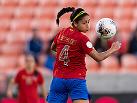 HOUSTON, TX - JANUARY 28: Mariana Benavides #4 of Costa Rica goes up for a header during a game between Costa Rica and Panama at BBVA Stadium on January 28, 2020 in Houston, Texas.