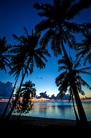 A silhouette of palm trees at sunset, Amuri Beach, Aitutaki Island, Cook Islands.