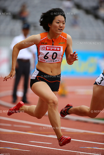 Anna Doi,<br /> JUNE 7, 2013 - Athletics :<br /> 97th Japan Championships in Athletics, Women's 100m Heats at Ajinomoto Stadium in Tokyo, Japan. (Photo by Toshihiro Kitagawa/AFLO)