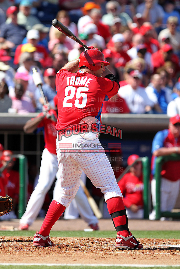 Philadelphia Phillies designated hitter Jim Thome #25 at bat during a spring training game against the Houston Astros at Bright House Field on March 7, 2012 in Clearwater, Florida.  (Mike Janes/Four Seam Images)