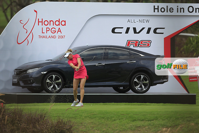 Ryann O'Toole (USA) on the 16th tee during Round 1 of the Honda LPGA Thailand on Thursday 23rd February 2017.<br /> Picture:  Thos Caffrey / Golffile