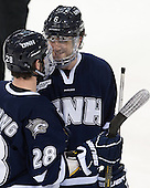 Grayson Downing (UNH - 28), Trevor van Riemsdyk (UNH - 6) - The Boston College Eagles and University of New Hampshire Wildcats tied 4-4 on Sunday, February 17, 2013, at Kelley Rink in Conte Forum in Chestnut Hill, Massachusetts.