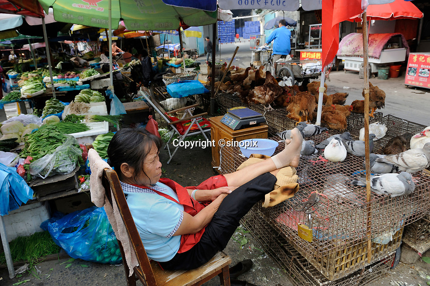 """A vendor selling pigeons and chickens in an open market in Shanghai, China in this file photo. China's wild animal markets, where live wild animals and reared animals are sold are the source of many viruses that mutate as they """"jump"""" from animals to humans. The coronavirus COVID-19 is thought to have originated in an animal market in China. <br /> <br /> By Sinopix Photo Agency"""