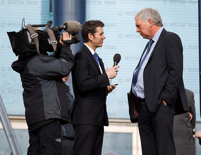 John Yorkston of Dunfermline after the SPL meeting at Hampden talking to the BBC's Dougie Vipond