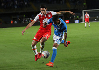 BOGOTA - COLOMBIA, 22-01-2018:Omar Bertel(Der.) jugador de Millonarios disputa el balón con Ruben Betancourt (Izq.) jugador de Independiente Santa Fe durante partido por el Torneo Fox Sports 2018 jugado en el estadio Nemesio Camacho El Campin de la ciudad de Bogotá. /Omar Bertel (R) player of Millonarios fights for the ball withRuben Betancourt(L) player of Independiente Santa Fe during match for the Fox Sports Tournament 2018  played at Nemesio Camacho El Campin Stadium in Bogota city. Photo: VizzorImage / Felipe Caicedo / Staff.