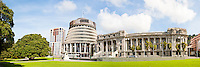 Panoramic Photo of the Beehive, the New Zealand Parliament Buildings, Wellington, North Island, New Zealand. This panoramic photo shows the area of the New Zeland Parliament Buildings known as the Beehive as a result of its shape. The Beehive is located in the centre of Wellington, the capital city of New Zealand, located on North Island.